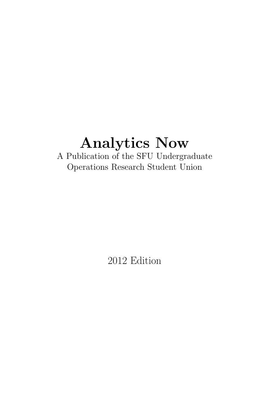 View Analytics Now 2012 Edition